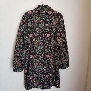 Johnny Was Black Floral Embroidered Coat